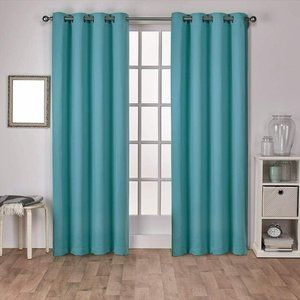 Sateen Twill Woven Blackout Curtain Teal 2 Panels